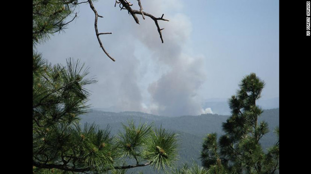 The Poco Fire from Rim Vista in the Tonto National Forest in Arizona ignited on June 14 and spread to 4,900 acres.