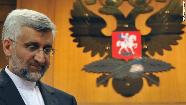Iran's chief nuclear negotiator Saeed Jalili is shown in Moscow on Tuesday after taking part in the Iran nuclear program talks.