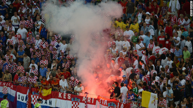 This is the third time at Euro 2012 that Croatia's Football Federation has been in trouble over fan behavior. 