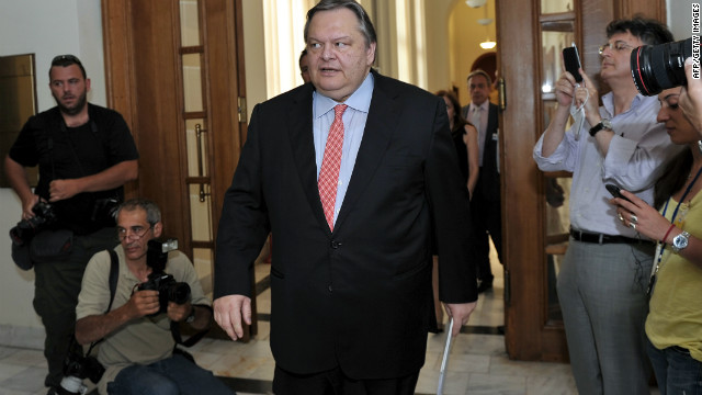 Pasok party leader Evangelos Venizelos arrives for a meeting with New Democracy leader, Antonis Samaras at the Greek Parliament in Athens on June 20, 2012. Greece's three main pro-euro parties reached a deal to form a new Greek government on Wednesday.