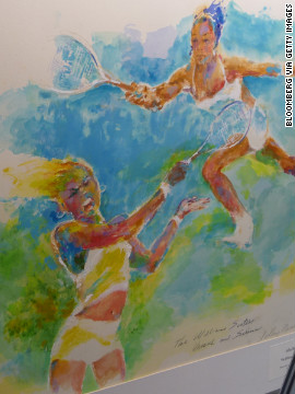 Neiman's picture of Venus and Serena Williams at the U.S. Open is on sale in 2009 in New York.