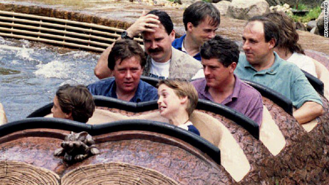 Prince William grimaces after riding Splash Mountain at Disney World's Magic Kindom in Florida. He was with friends of the royal family on a three-day vacation in 1993.