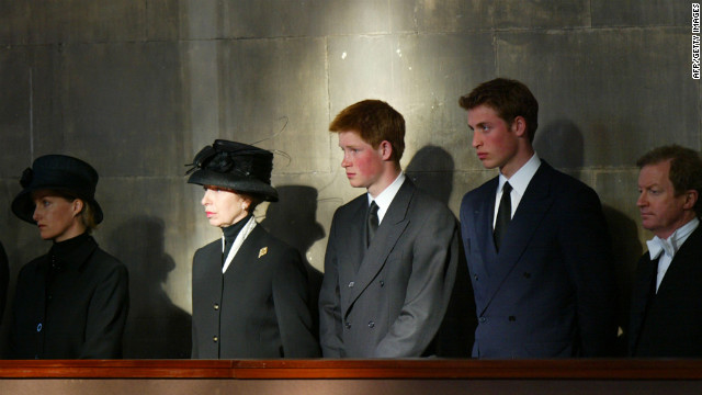 The royal family stand vigil besides the Queen Mother's coffin at Westminster Hall on April 8, 2002. Prince William, left, stands alongside Prince Harry, Princess Anne and Sophie of Wessex.