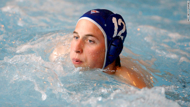 Prince William makes his water polo debut for the Scottish national universities squad in the annual Celtic Nations tournament in 2004.