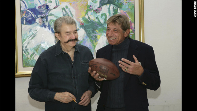Neiman and former New York Jets quarterback Joe Namath unveil and sign a limited edition serigraph, titled &quot;Handoff - Super Bowl III,&quot; at the Neiman studio on January 18, 2007.