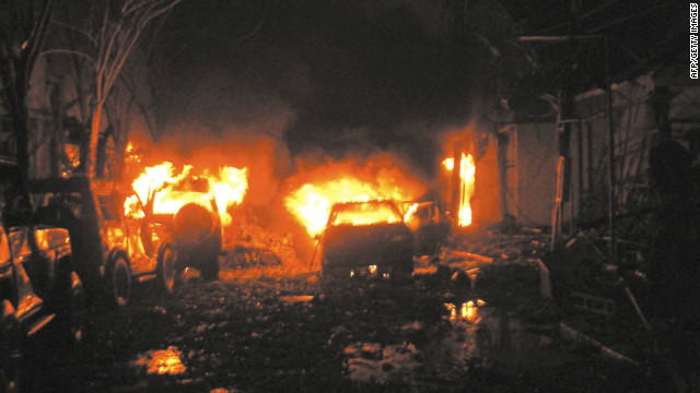 Flames are still visible after the blasts which hit in quick succession in the tourist town of Kuta, Bali, on the night of October 12, 2002. Many of the victims were Australian tourists who had crowded the bars on a busy Saturday night. Witnesses told of the horror as the holiday mood turned to terror.