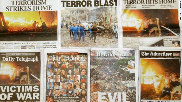After the Bali bombings, front page headlines in Australian newspapers described the attacks as &quot;evil&quot; and those who died and were injured as &quot;victims of war.&quot; 