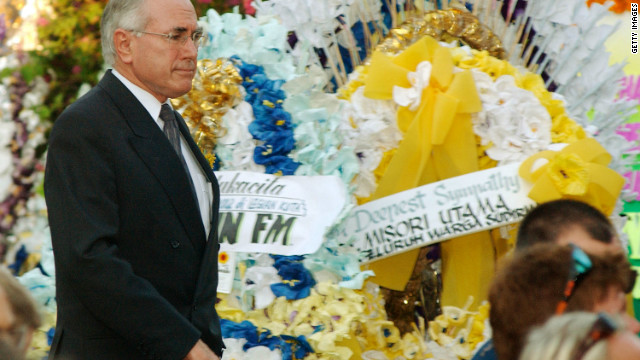 Australian Prime Minister John Howard arrives for a memorial service for the bombing victims in Denpasar, Bali, on October 17, 2002. A day of national mourning was declared in the wake of the blasts.