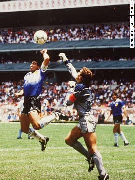 One of the most controversial moments in soccer history as Diego Maradona scored with his hand for Argentina against England in the World Cup quarterfinal. The goal was allowed to stand and Maradona added a brilliant second to ensure a 2-1 win for Argentina. The game was played just four years after the Falklands War had ended. Maradona spoke of his side's win as &quot;revenge&quot; and claimed his goal was scored by the &quot;Hand of God.&quot; Argentina went on to win the World Cup.