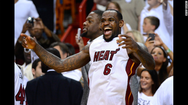 LeBron James No. 6 of the Heat celebrates late in the fourth quarter against the Thunder.