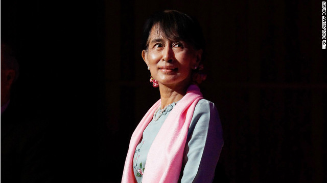 Aung San Suu Kyi, here at an event in London, made a triumphant return to the world stage this week.