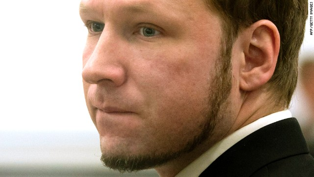 Anders Breivik arrives in the courtroom in Oslo on Friday, the last day of the trial.