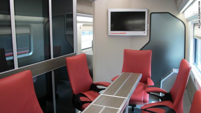 Trenitalia's new Frecciarossa trains even include a conference room for business travelers.