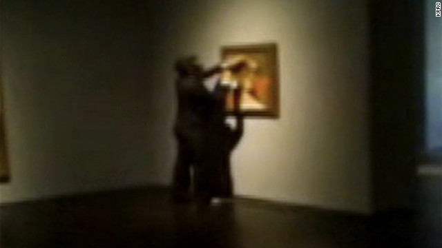 A vandal was captured on a cell phone video spray-painting a Picasso painting in a Houston museum.