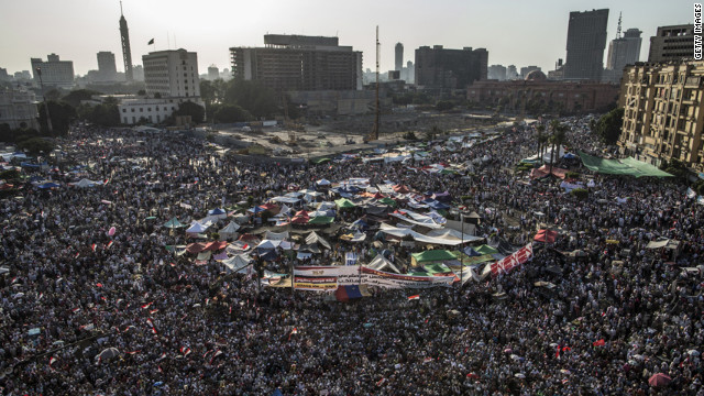 Crowds gather in Tahrir Square to protest against Egypt's military rulers.