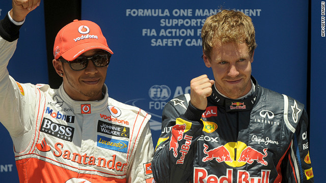 Red Bull's Sebastian Vettel (right) stormed ahead of Lewis Hamilton to claim pole for Sunday's European Grand Prix.