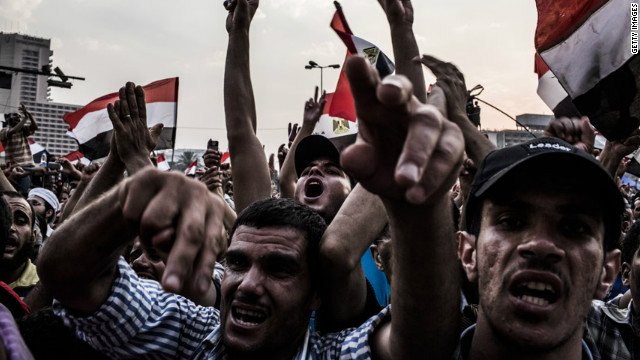 Protesters demonstrate against Egypt's military rulers.