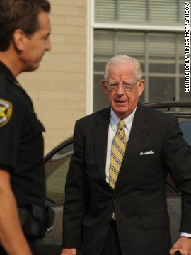 Judge John Cleland walks into the courthouse. Once the jury reached its decision, he revoked Sandusky's bail and ordered his arrest.