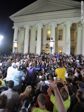 A crowd gathers outside the Centre County Courthouse in Bellefonte, Pennsylvania, to await the Sandusky verdict.