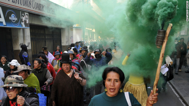 Wives of police officers on strike march along the streets of La Paz, Bolivia. They're on a hunger strike, started by 60 spouses, which began this week in La Paz and other cities.