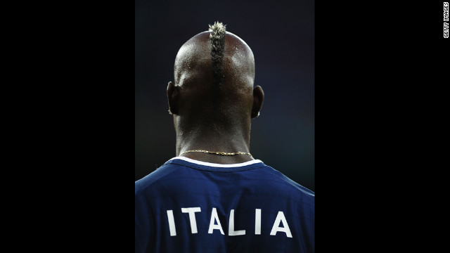 Mario Balotelli of Italy gears up for the match against England on Sunday.