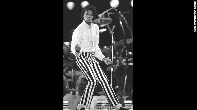 Jackson achieved superstardom with his solo career in the 1980s. Here Jackson is shown on stage in Kansas in 1983.