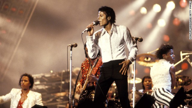 Michael Jackson performs on stage circa 1990.