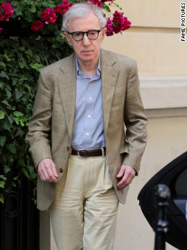 Woody Allen leaves his hotel in Paris.