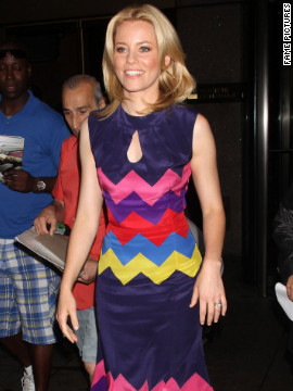 Elizabeth Banks visits the Sirius Radio studios in New York City.
