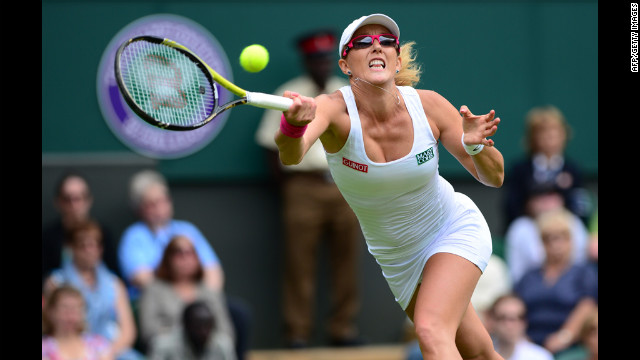 Rodionova chases down a shot during the match on June 25.