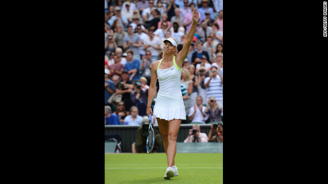 Sharapova celebrates her win over Rodionova June 25.