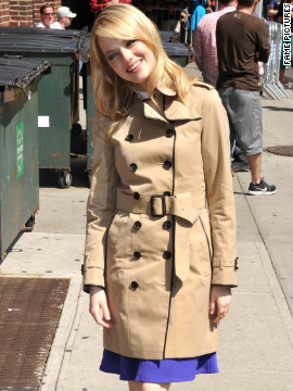 "Emma Stone visits ""The Late Show with David Letterman"" in New York City."