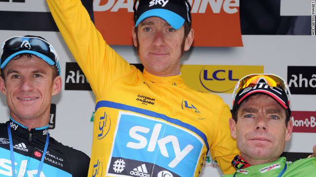 Wiggins sporting the yellow jersey after winning the Criterium du Dauphine earlier this year. Sky teammate Michael Rogers finished second with reigning Tour de France champion Cadel Evans in third.