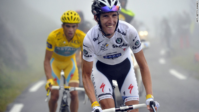 Luxembourg's Andy Schleck and Alberto Contador of Spain battle it out on the famous Col du Tourmalet in the 2010 Tour de France. Schleck (in white) was awarded the race after Contador tested positive for a banned drug. Schleck is injured for this year's Tour while Contador is suspended. 