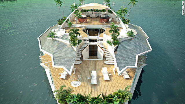 If the island's owners inadvertently find themselves as island castaways, the vessel is designed to be self-sustaining. It can make drinking water from seawater and the top deck roof is covered in 160 square meters of solar panels.