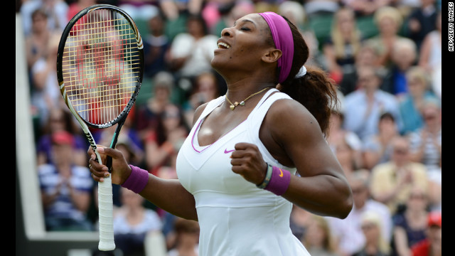 Serena Williams of the U.S. beat Barbora Zahlavova Strycova of the Czech Republic on June 26.