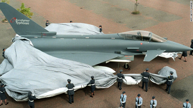 The £40 billion Eurofighter Typhoon combat aircraft is unveiled at Farnborough in 1998.