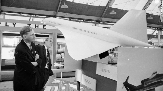 A model of the supersonic airliner Concorde at the Farnborough air show in 1962.