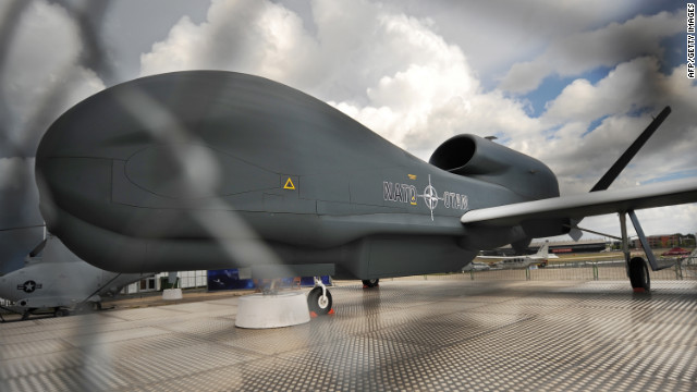 A Northrop Grumman RQ-4 Global Hawk unmanned aircraft is pictured at Farnborough on July 22, 2010. 