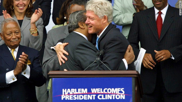 U.S. Rep. Charlie Rangel and the Clintons have a long history. Rangel welcomed President Bill Clinton in a huge embrace on July 30, 2001, the first day in his Harlem business offices.