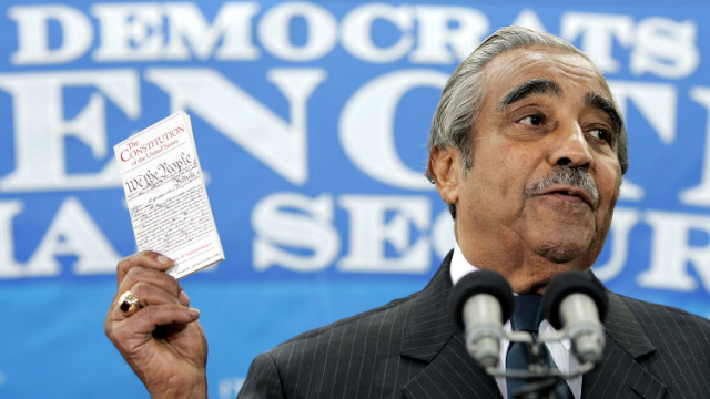 Rangel and other Democrats urged President George W. Bush to drop privatization in trying to overhaul the Social Security system. Here he holds a copy of the Constitution during a news conference on March 16, 2005, on Capitol Hill. 