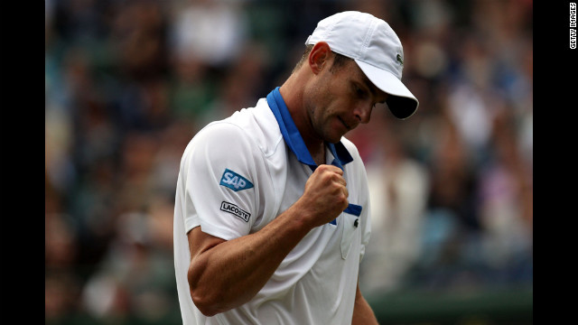 Andy Roddick of the USA reacts to a play during his first round match against Jamie Baker of Great Britain on June 26.