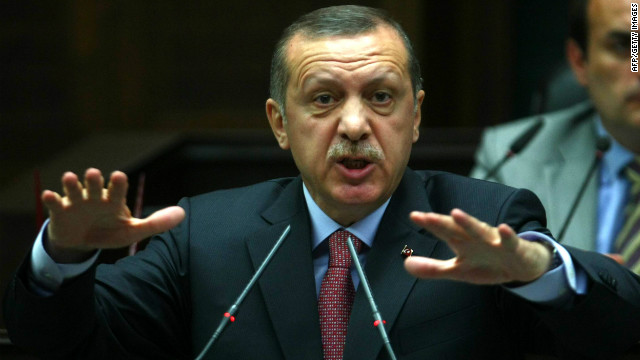 Turkish Prime Minister Recep Tayyip Erdogan addresses on June 12 members of his ruling Justice and Development Party.