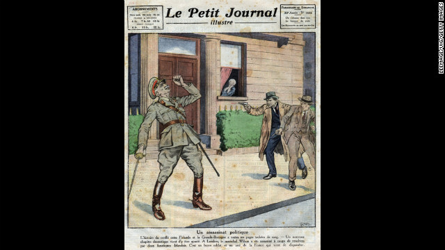 An illustration in the French newspaper Le Petit Journal Illustre portrays the assassination of British Field Marshal Henry Hughes Wilson by two IRA members in 1922.