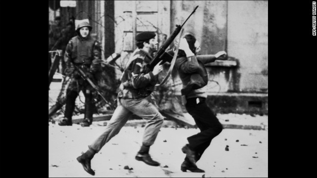 A British soldier drags a Catholic protester on &quot;Bloody Sunday,&quot; when British paratroopers shot and killed 13 Catholic civil rights marchers in Londonderry, Northern Ireland, on January 30, 1972. Shortly after, the Irish Republican Army declared that its immediate policy was &quot;to kill as many British soldiers as possible.&quot;