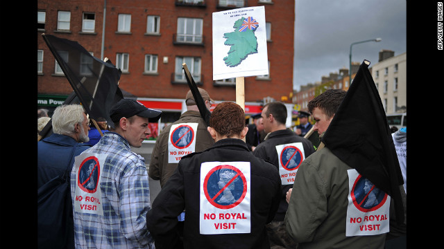 Protestors gather in Dublin to demonstrate against the visit of Queen Elizabeth II to Ireland on May 17, 2011. Her visit marked the first by a British monarch to the Irish Republic.