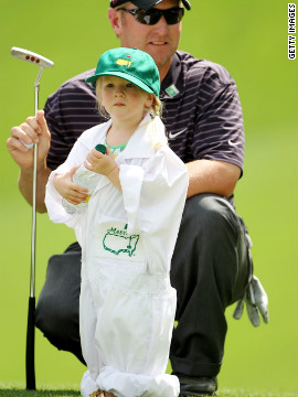 Duval with his daughter Sienna before the 2010 Masters Tournament. He had a promising start to that year but missed the cut at Augusta and the British Open, and tied for 70th at the U.S. Open.