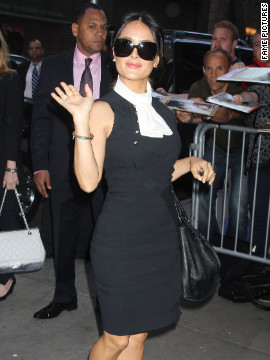 "Salma Hayek visits ""Good Morning America"" in New York City."