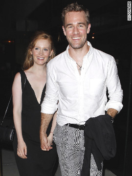 James Van Der Beek and his wife Kimberly Brook arrive at a club in Hollywood.