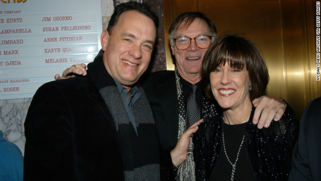 Tom Hanks joins Ephron and husband Nicholas Pileggi in 2003 for the opening-night performance of her play &quot;Imaginary Friends.&quot; Hanks starred in Ephron's films &quot;You've Got Mail&quot; and &quot;Sleepless in Seattle.&quot;
